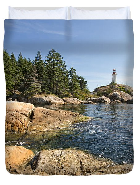 Duvet Cover featuring the photograph Point Atkinson Lighthouse In Vancouver Bc by JPLDesigns