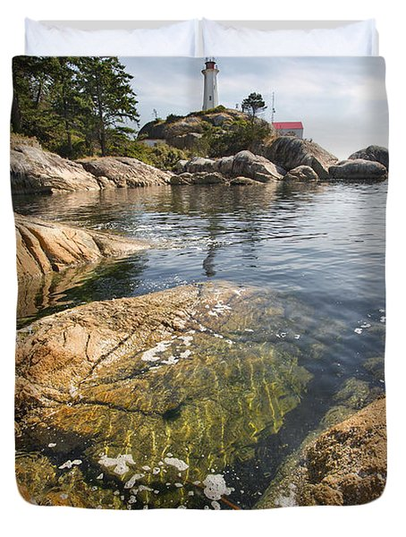 Duvet Cover featuring the photograph Point Atkinson Lighthouse In Vancouver Bc Vertical by JPLDesigns