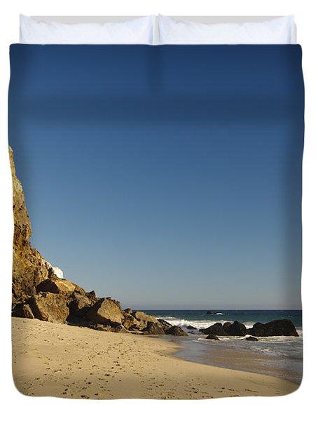 Point Dume At Zuma Beach Duvet Cover by Adam Romanowicz