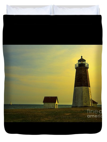 Point Judith Lighthouse Duvet Cover by Diane Diederich