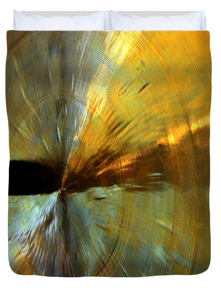 Point Of Impact In Copper And Green Duvet Cover