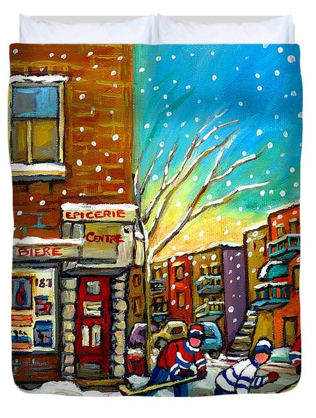 Pointe St. Charles Hockey Game At The Depanneur Montreal City Scenes Duvet Cover by Carole Spandau