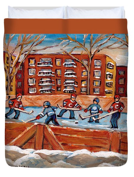 Pointe St. Charles Hockey Rink Southwest Montreal Winter City Scenes Paintings Duvet Cover by Carole Spandau