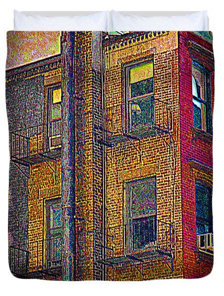 Pointillism In Steel And Brick Duvet Cover by Miriam Danar