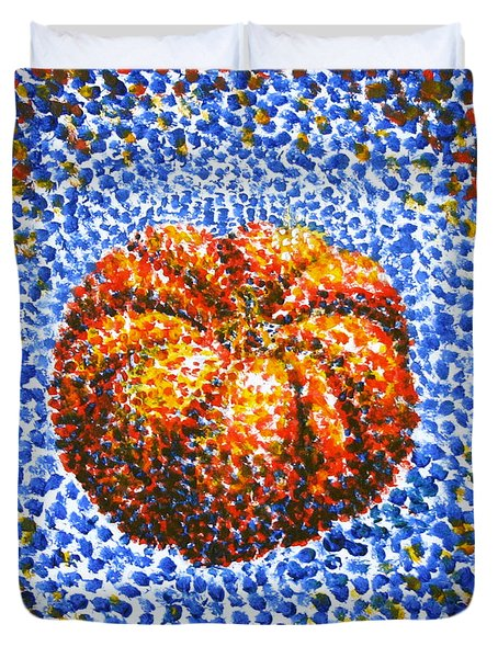 Pointillism Pumpkin Duvet Cover by Samantha Geernaert