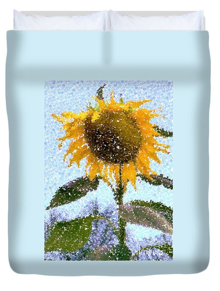 Pointillist Sunflower In Sun City Duvet Cover by Barbie Corbett-Newmin