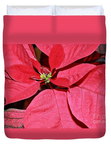 Duvet Cover featuring the photograph Pointsettia Flower by Judy Palkimas