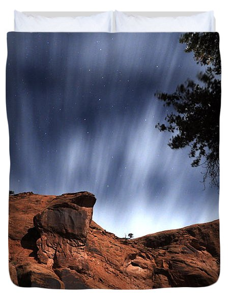 Poison Spider Mesa Under Moonlight Duvet Cover
