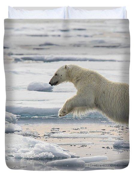 Polar Bear Jumping  Duvet Cover