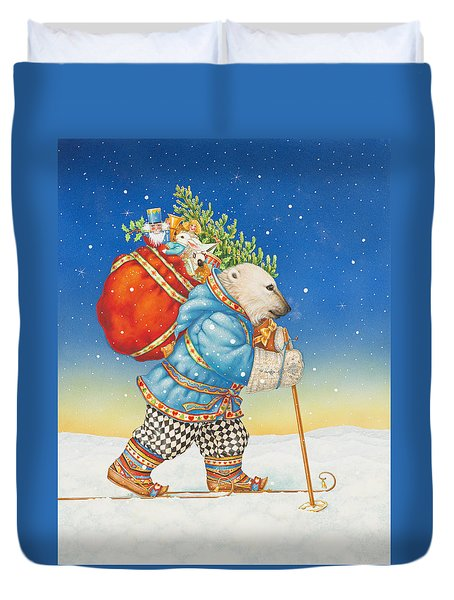 Polar Bear Santa Claus Duvet Cover