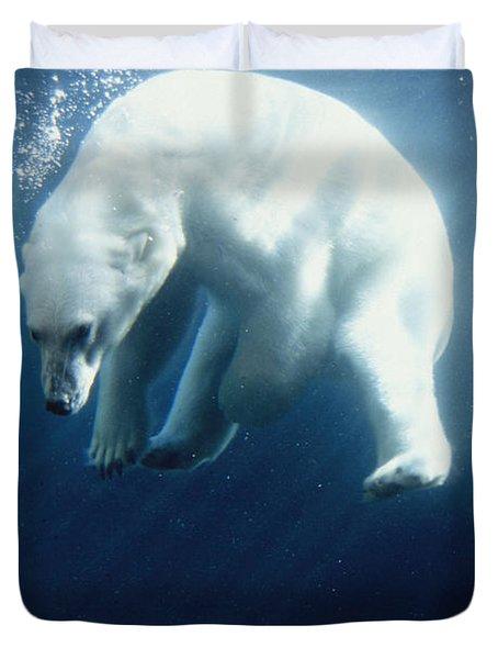 Polar Bear Swimming Underwater Alaska Duvet Cover