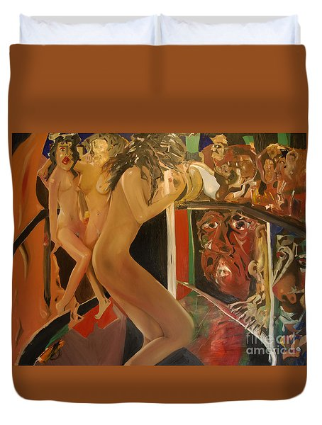 Pole Dancers And Their Admirers Duvet Cover