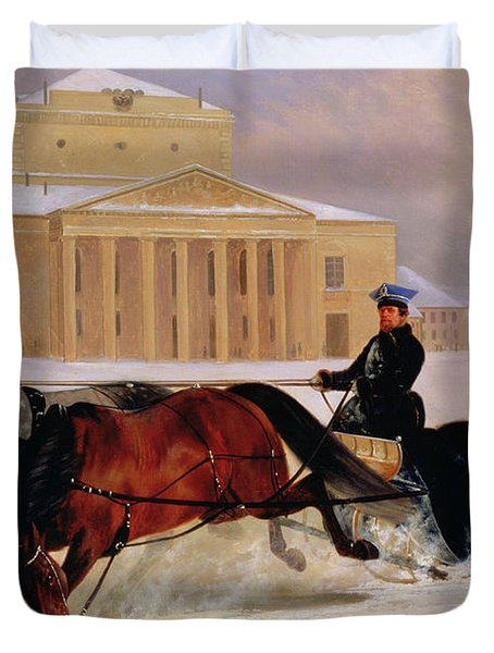 Pole Pair With A Trace Horse At The Bolshoi Theatre In Moscow Duvet Cover by Nikolai Egorevich Sverchkov