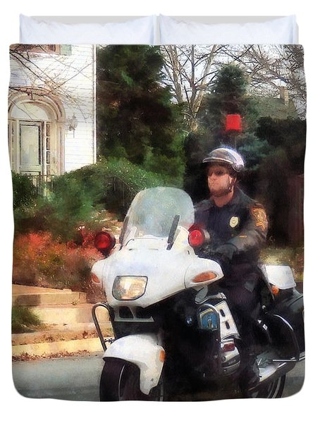 Police - Motorcycle Cop On Patrol Duvet Cover by Susan Savad