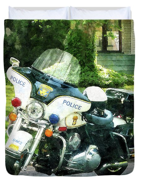 Police - Police Motorcycle Duvet Cover by Susan Savad