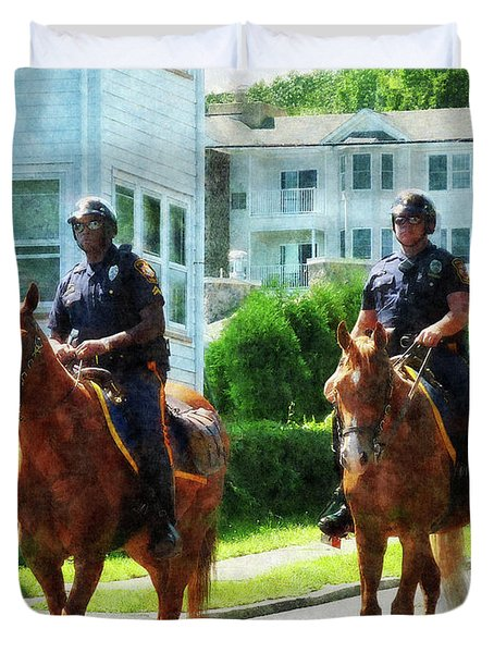 Police - Two Mounted Police Duvet Cover by Susan Savad