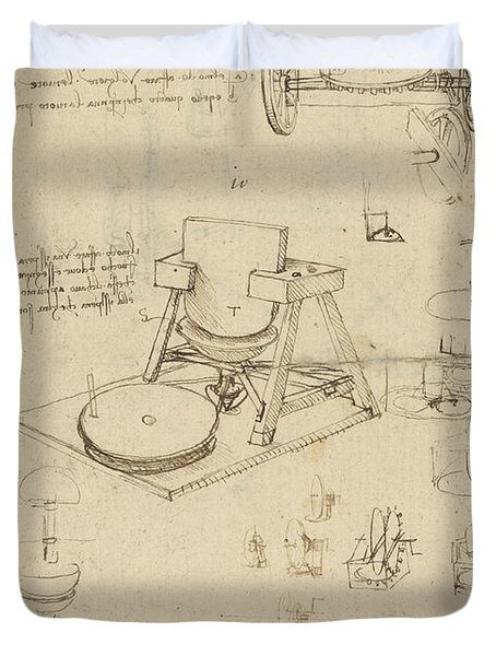 Polishing Machine Formed By Two Wheeled Carriage From Atlantic Codex Duvet Cover by Leonardo Da Vinci
