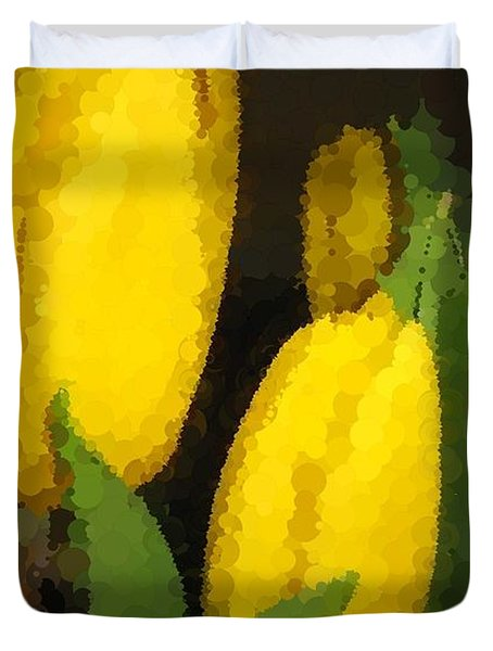 Polka Dot Yellow Tulips Duvet Cover by Barbara Griffin
