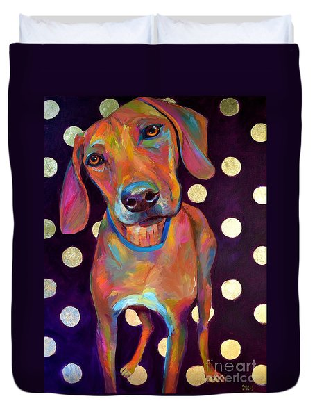 Duvet Cover featuring the painting Polka Pooch by Robert Phelps