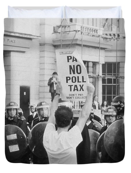 Poll Tax Riots London Duvet Cover