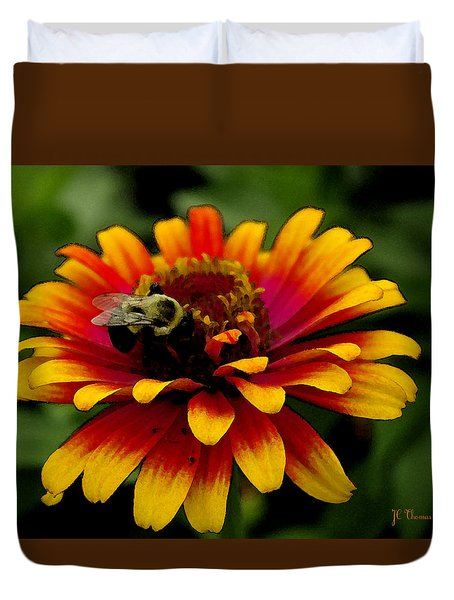 Duvet Cover featuring the photograph Pollenating Bumblebee by James C Thomas