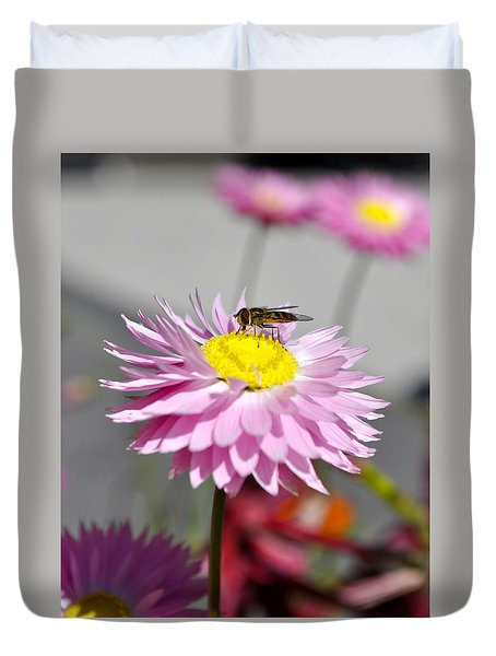 Duvet Cover featuring the photograph Pollination by Cathy Mahnke
