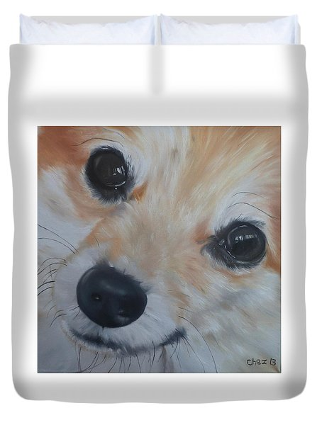 Duvet Cover featuring the painting PoM by Cherise Foster