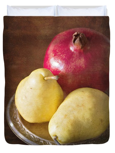 Pomegranate And Yellow Pear Still Life Duvet Cover