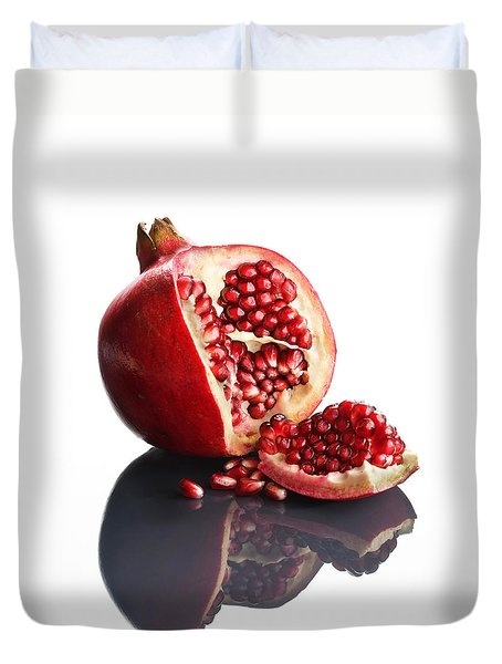 Pomegranate Opened Up On Reflective Surface Duvet Cover by Johan Swanepoel
