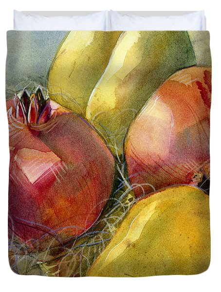 Pomegranates And Pears Duvet Cover