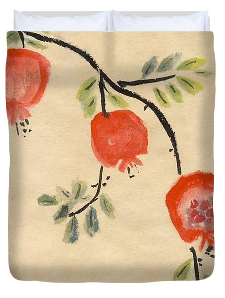 Duvet Cover featuring the painting Pomegranates For Rosh Hashanah by Linda Feinberg