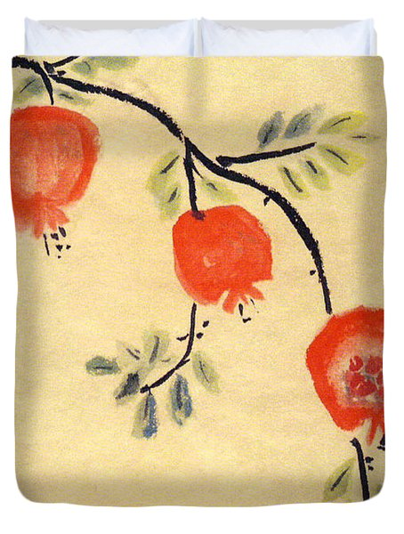 Duvet Cover featuring the painting Pomegranates by Linda Feinberg