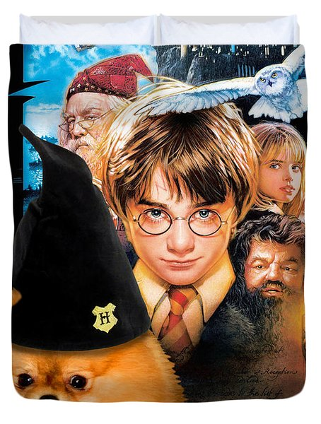 Pomeranian Art Canvas Print - Harry Potter Movie Poster Duvet Cover