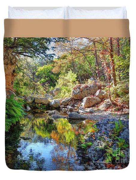 Pond At Lost Maples Duvet Cover