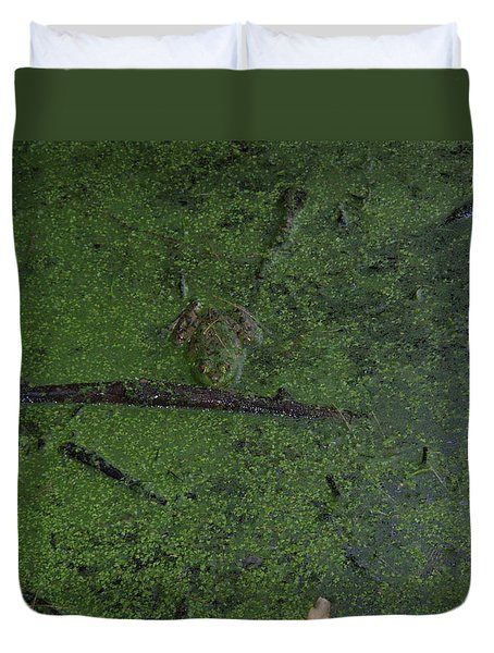 Duvet Cover featuring the photograph Pond Eyes by Robert Nickologianis