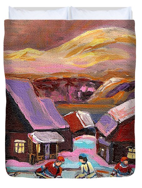 Pond Hockey 1 Duvet Cover by Carole Spandau
