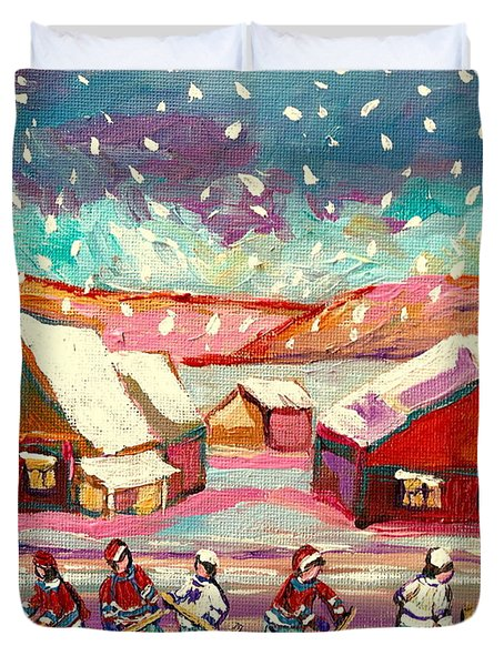 Pond Hockey Game 3 Duvet Cover by Carole Spandau