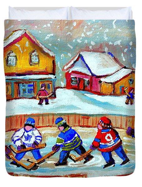 Pond Hockey Game Duvet Cover by Carole Spandau