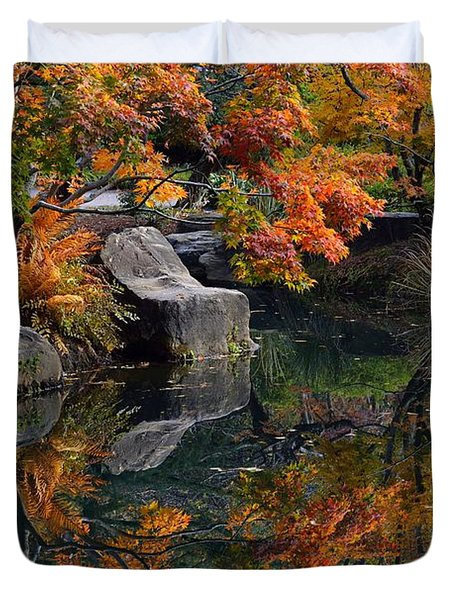 Pond In Autumn Duvet Cover