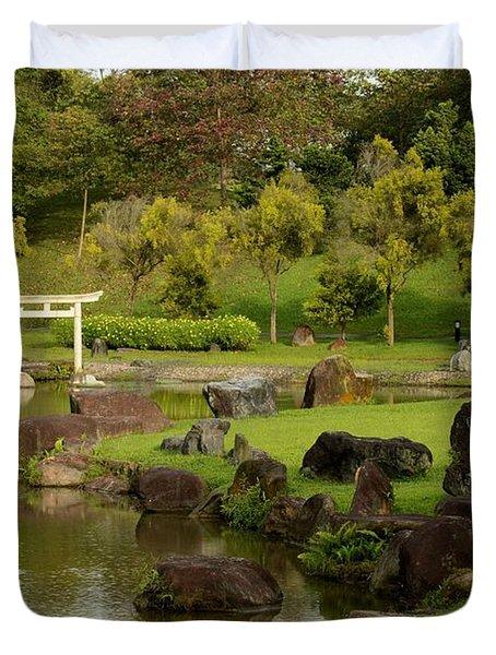 Pond Rocks Grass And Japanese Arch Singapore Duvet Cover