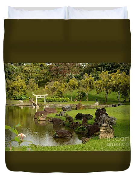 Pond Rocks Grass And Japanese Arch Singapore Duvet Cover