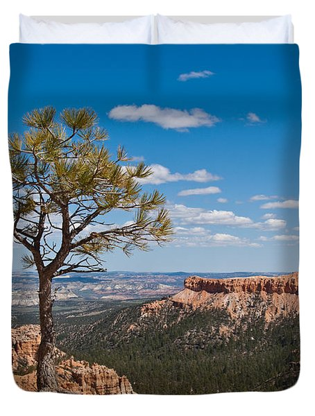 Ponderosa Pine Tree Clinging To Life On Canyon Rim Duvet Cover by Jeff Goulden