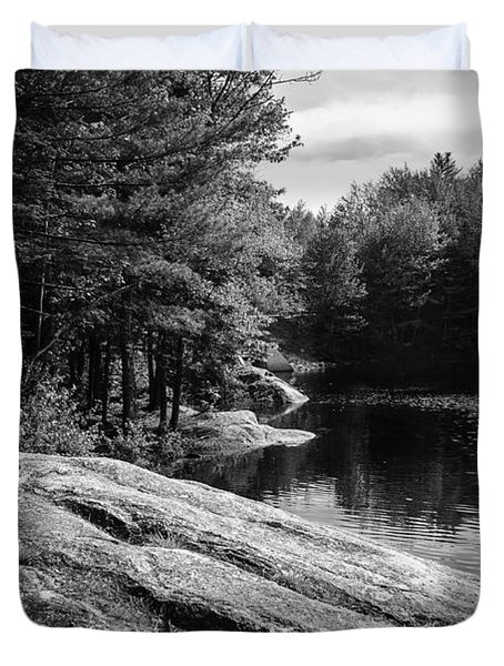 Duvet Cover featuring the photograph Pondside by Mark Myhaver