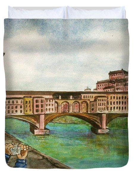 Ponte Vecchio Florence Italy Duvet Cover