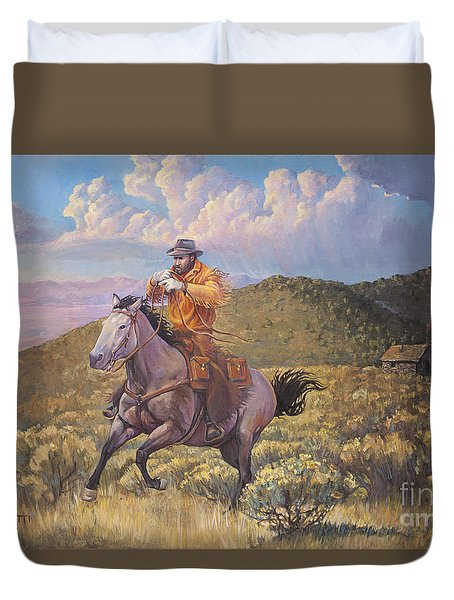 Pony Express Rider At Look Out Pass Duvet Cover