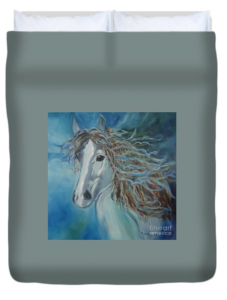 Duvet Cover featuring the painting Pony by Jenny Lee
