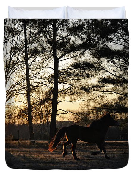 Pony's Evening Pasture Trot Duvet Cover by Paulette B Wright