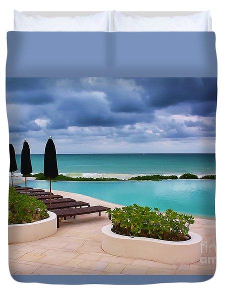 Duvet Cover featuring the photograph Pool At Rosewood Mayakoba by Teresa Zieba
