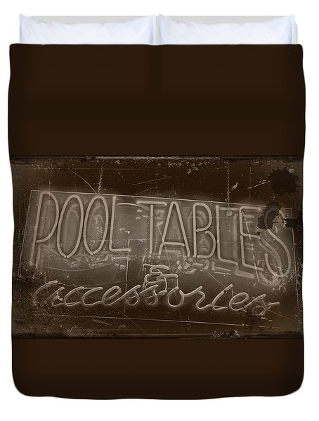 Pool Tables And Accessories - Vintage Neon Sign Duvet Cover
