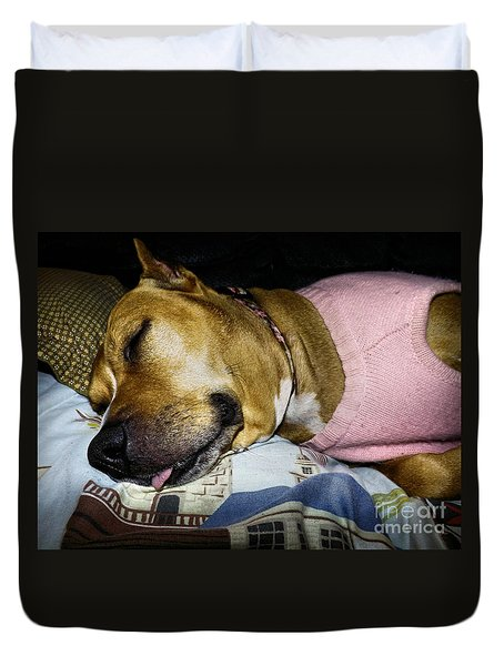 Pooped Pup Duvet Cover by Robyn King